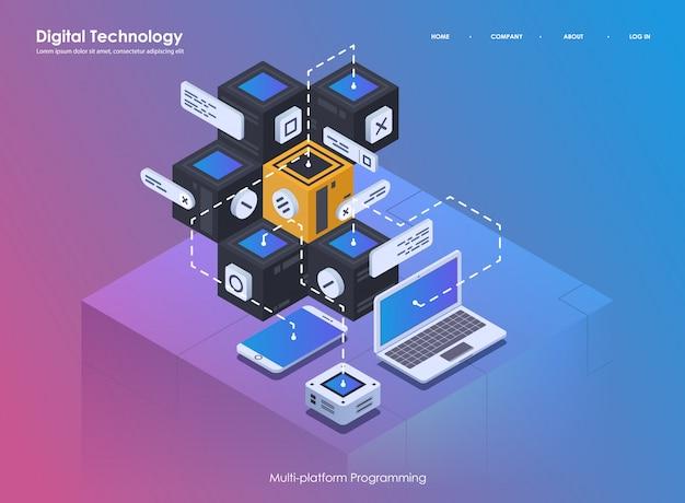 Softwareentwicklung und programmierung. kreatives programm oder systemprozess codieren. flache isometrische darstellung.