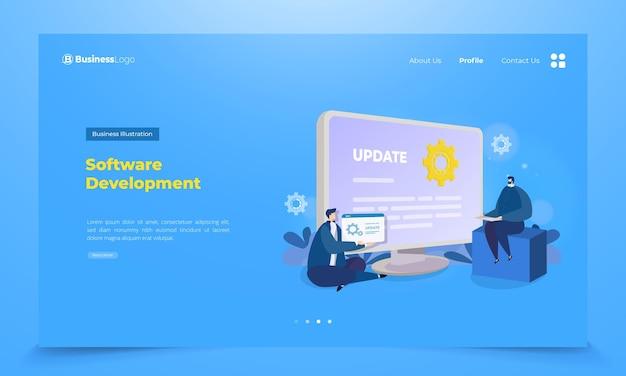 Softwareentwicklungsteam auf der landing page