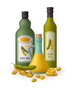 Sojaöl und sojabohnen isoliert auf weiß