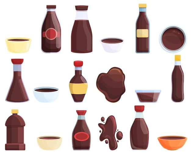 Sojasauce-symbole gesetzt. cartoon-set von sojasauce-vektor-icons für webdesign