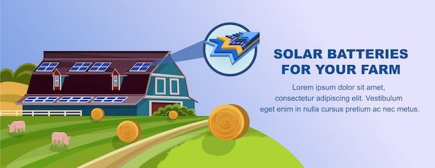 Solarbatterien zur stromerzeugung in landwirtschaftlichen betrieben