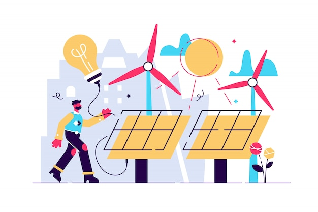 Solarenergie illustration. flaches winziges nachhaltiges konzept für alternative energiepersonen. erneuerbare elektrizität mit sonnenkollektoren und windkraftanlage. option für eine saubere oder umweltfreundliche erneuerbare versorgung