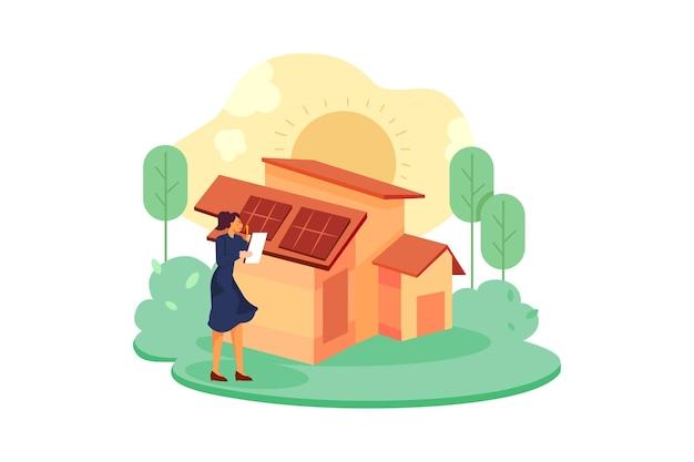 Solarenergie-illustrationskonzept