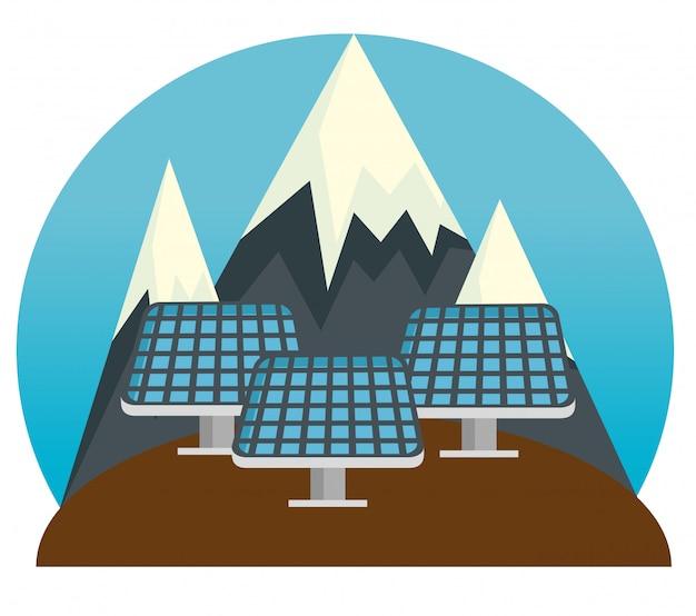 Solarenergie nachhaltige und schneebedeckte berge