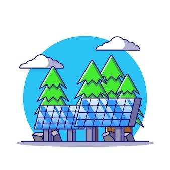 Solarpanel der erneuerbaren energie an land mit flacher karikaturillustration des hintergrunds im freien isoliert