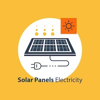 Solarpanel mit stecker und sonnensymbol, autonomer elektrizität, energiequelle, flache entwurfsillustration