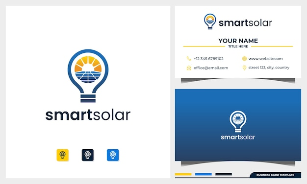 Solarpanel und sonnenenergielogo mit glühbirnenkonzeptlogodesign und visitenkartenschablone
