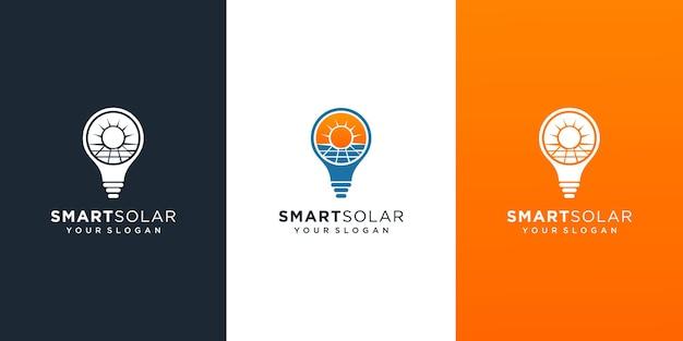 Solarpanel und sonnenenergielogo mit glühbirnenkonzeptlogodesign