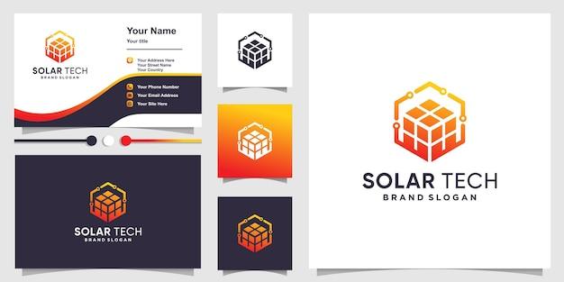 Solartech-logo mit kreativem würfelkonzept und visitenkartendesign