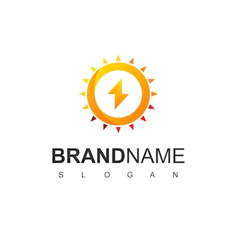 Solarzellen-logo mit bolzen und sonnensymbol