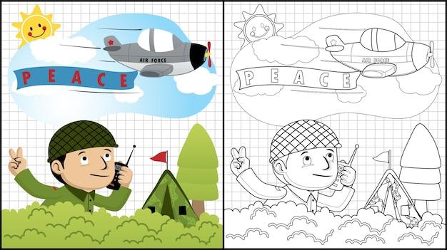 Soldat cartoon mit militärflugzeug