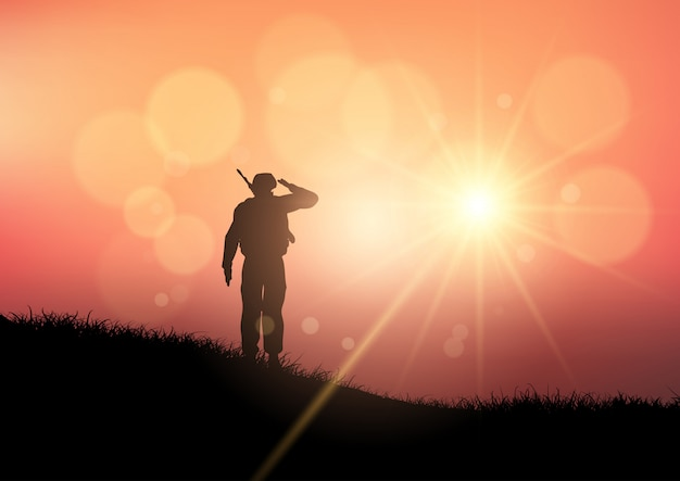Soldat, der bei sonnenuntergang begrüßt