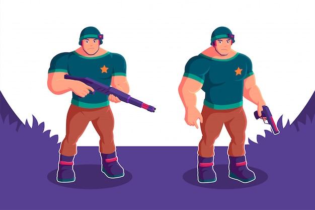 Soldat hält pistole zeichentrickfigur