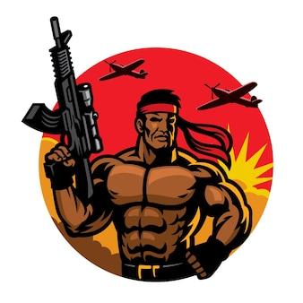 Soldat im muskulösen körpermaskottchen