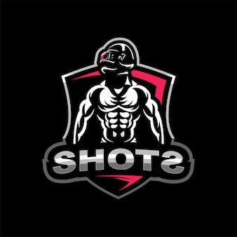 Soldat in einem schlachtfeld esports logo