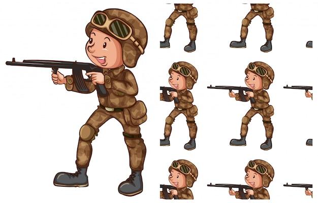 Soldat, isoliert auf weiss