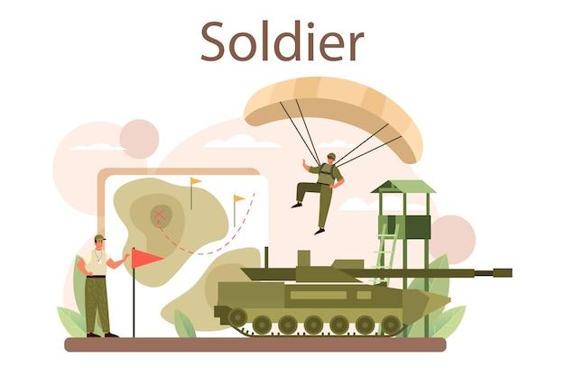 Soldat-konzept. militärangehöriger in tarnung mit einer waffe. ausrüstung und technik der armee. kriegsstrategie und taktik. isolierte flache vektorillustration