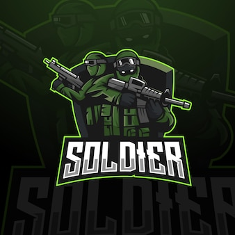 Soldat-maskottchen-logo-design-vektor mit modernem illustrationskonzept-stil für abzeichen-emblem und t-shirt