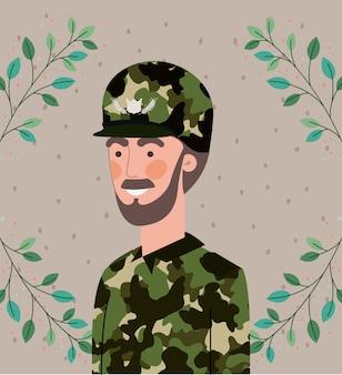 Soldat mit blattkranzrahmen