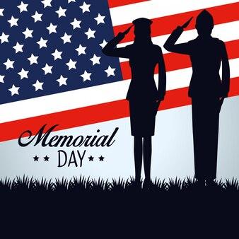 Soldat mit usa-flagge zum nationalen erinnerungstag