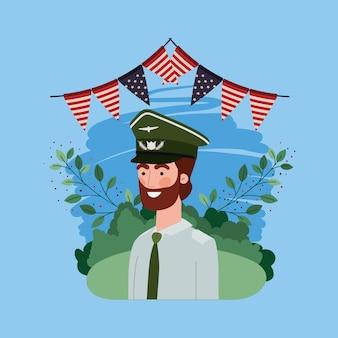 Soldat mit usa-girlanden auf dem gebiet