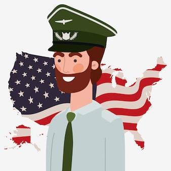 Soldat mit usa karte und flagge