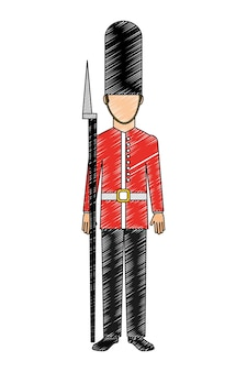 Soldat von london lokalisierte ikonenvektor-illustrationsdesign