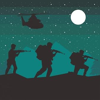 Soldaten und hubschrauberfiguren silhouetten in der nachtszene