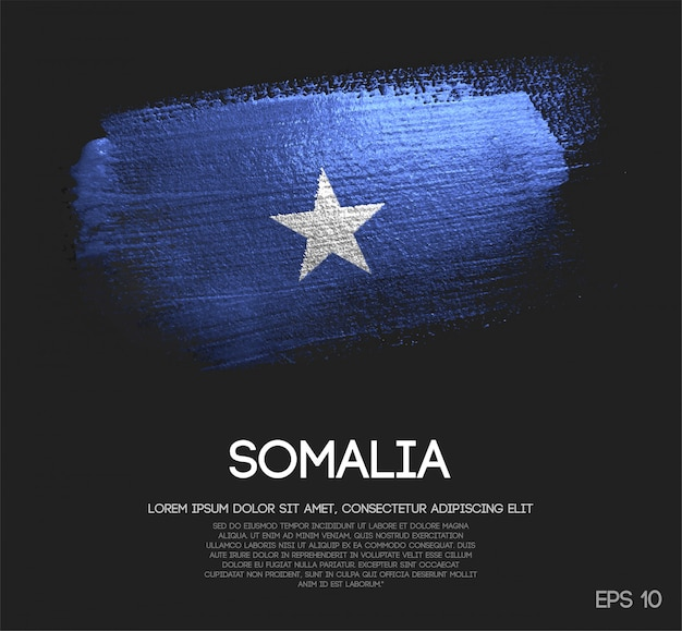 Somalia flagge aus glitter sparkle pinselfarbe