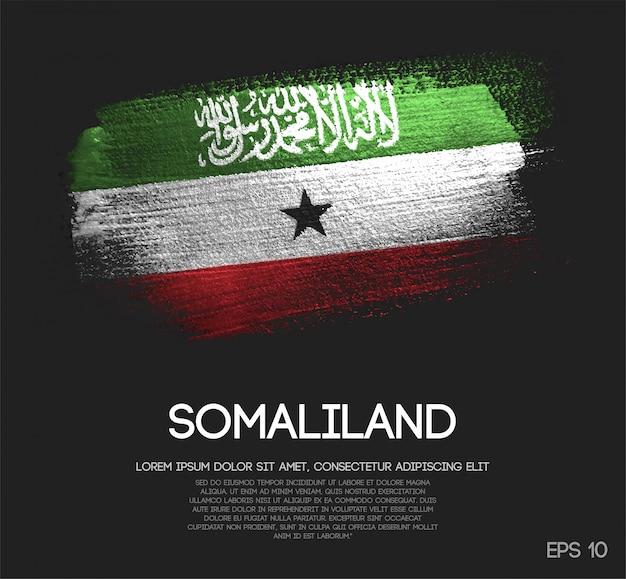 Somaliland flagge aus glitter sparkle pinselfarbe