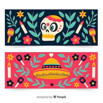 Sombrero und totenkopf banner für dia de muertos veranstaltung