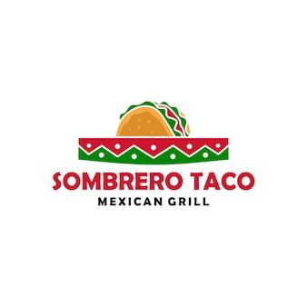 Sombrerohut-taco-logovektor-ikonenillustration
