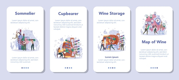 Sommelier mobile application banner set