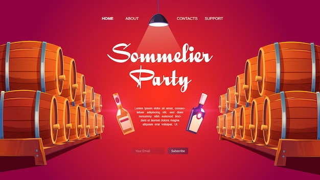 Sommelier party cartoon landing page