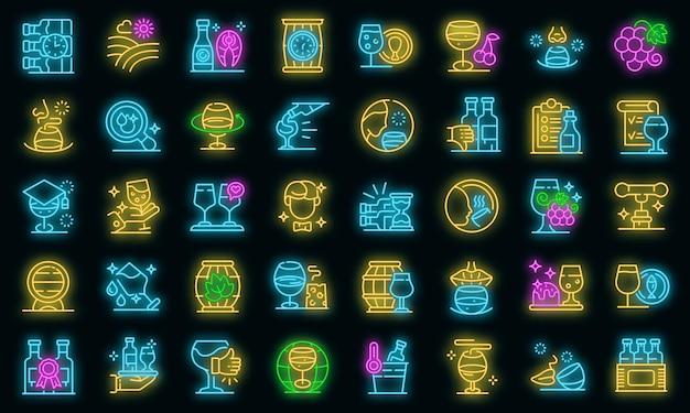 Sommelier-symbole gesetzt. umrisse von sommelier-vektorsymbolen neonfarbe auf schwarz