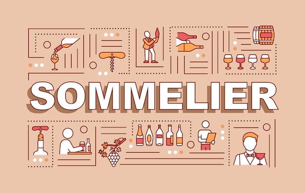 Sommelier-wortkonzepte-banner. empfehlung für gourmet-alkohol-traubengetränke. infografiken mit linearen symbolen auf rotem hintergrund. isolierte typografie. vektorumriss rgb-farbabbildung