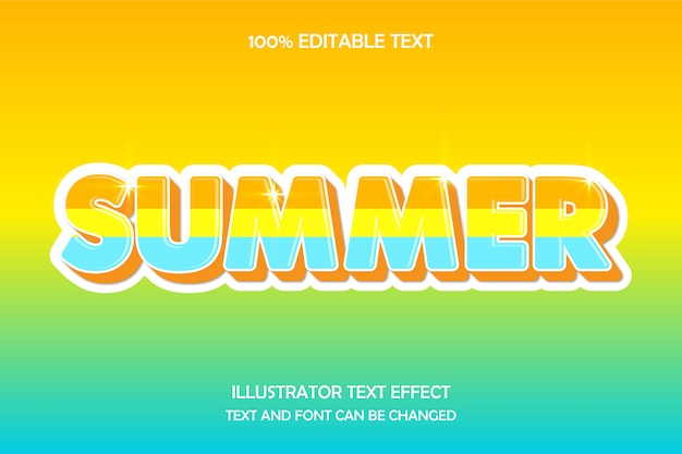 Sommer, 3d bearbeitbarer texteffekt moderne prägung geblendet stil