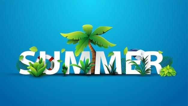 Sommer 3d textfahnenentwurf mit weißem titel und tropischen elementen im blauen hintergrund für ihre kunst