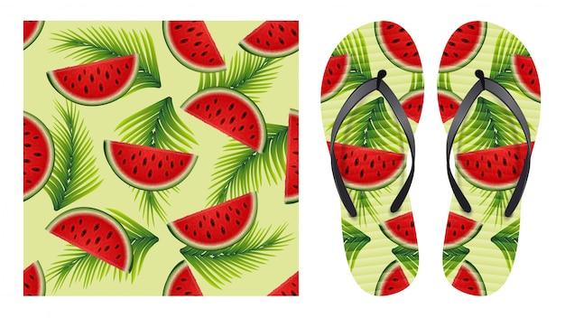 Sommer abstrakte helle nahtlose muster mit wassermelonenscheiben und palmblättern. musterdesign zum drucken auf flip-flops. Premium Vektoren
