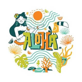 Sommer-aloha-illustration mit seewelt-elementen-design