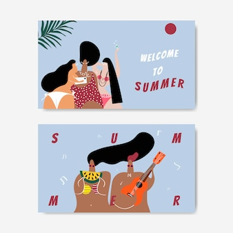 Sommer am strand eingestellt