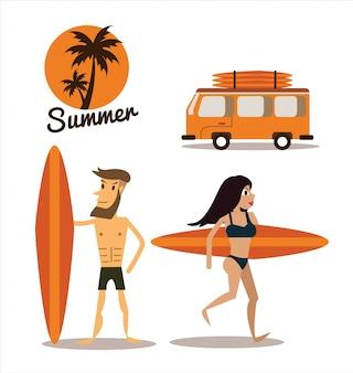 Sommer am strand. flaches design. vektor-illustration