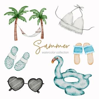 Sommer-aquarell-elementsammlung