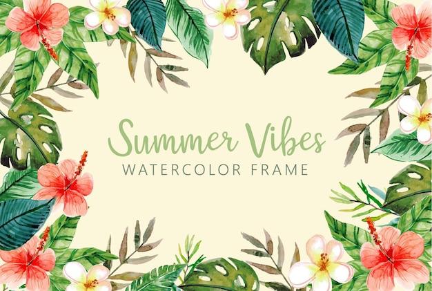Sommer-aquarell-rahmen mit tropischen blättern und monstera