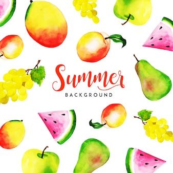 Sommer-aquarell trägt mehrzweckhintergrund früchte
