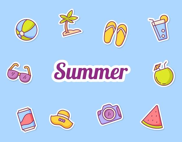 Sommer aufkleber symbol ikonen set sammlung paket blau isoliert hintergrund mit farbe umriss stil