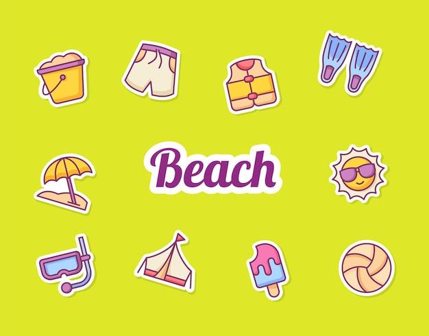 Sommer aufkleber symbol ikonen set sammlung paket gelb isoliert hintergrund mit farbe umriss stil