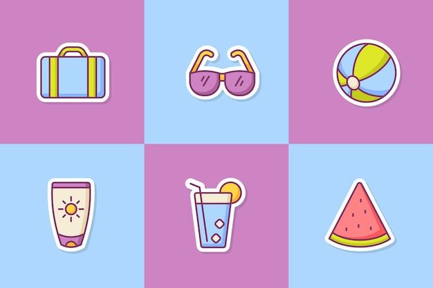 Sommer aufkleber symbol symbole set sammlung paket mit farbe umriss stil
