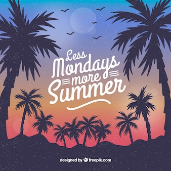 Sommer backgroud mit sonnenuntergang- und palmeschattenbild