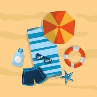 Sommer badeanzug regenschirm strand sonnenbrille sunblock seestern handtuch